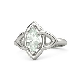 Marquise Green Amethyst 18K White Gold Ring