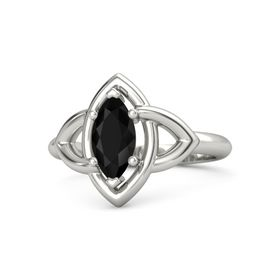 Marquise Black Onyx 18K White Gold Ring