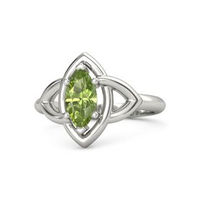 Marquise Peridot 18K White Gold Ring