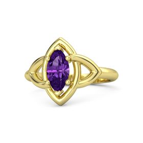 Marquise Amethyst 18K Yellow Gold Ring
