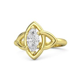 Marquise White Sapphire 18K Yellow Gold Ring