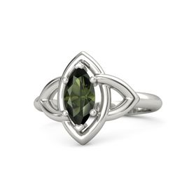 Marquise Green Tourmaline Palladium Ring