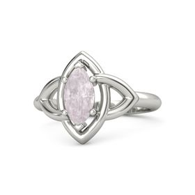 Marquise Rose Quartz Palladium Ring