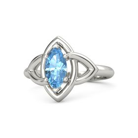 Marquise Blue Topaz Palladium Ring