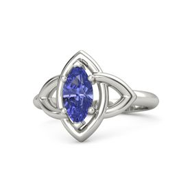 Marquise Tanzanite Palladium Ring