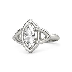 Marquise Rock Crystal Platinum Ring