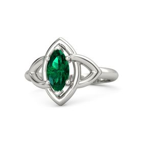 Marquise Emerald Platinum Ring