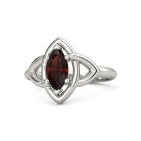 Marquise Red Garnet Platinum Ring