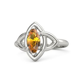 Marquise Citrine Platinum Ring