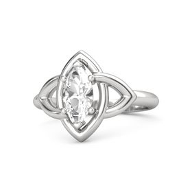 Marquise Rock Crystal Sterling Silver Ring