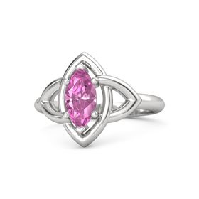 Marquise Pink Sapphire Sterling Silver Ring