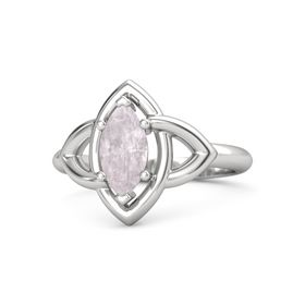 Marquise Rose Quartz Sterling Silver Ring