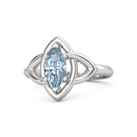 Marquise Aquamarine Sterling Silver Ring