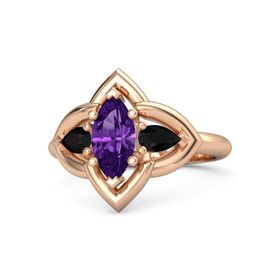 Marquise Amethyst 14K Rose Gold Ring with Black Onyx