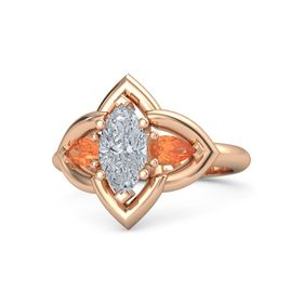 Marquise Diamond 14K Rose Gold Ring with Fire Opal