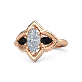 Marquise Diamond 14K Rose Gold Ring with Black Onyx