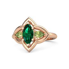 Marquise Emerald 14K Rose Gold Ring with Peridot