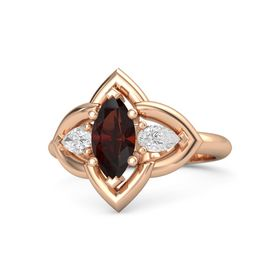 Marquise Red Garnet 14K Rose Gold Ring with White Sapphire