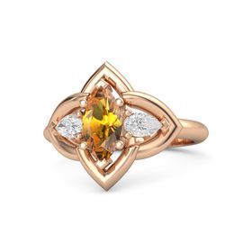 Marquise Citrine 14K Rose Gold Ring with White Sapphire