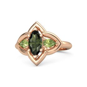 Marquise Green Tourmaline 14K Rose Gold Ring with Peridot
