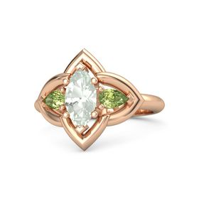 Marquise Green Amethyst 14K Rose Gold Ring with Peridot