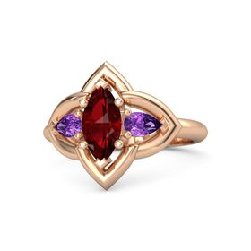 Marquise Ruby 14K Rose Gold Ring with Amethyst