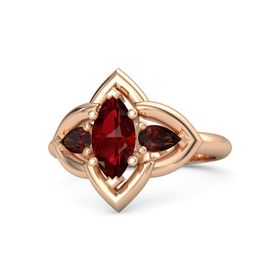 Marquise Ruby 14K Rose Gold Ring with Red Garnet