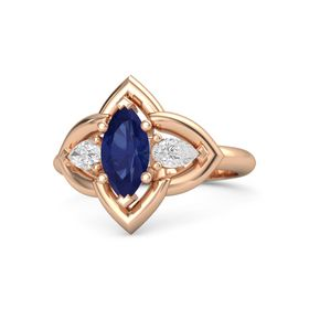 Marquise Sapphire 14K Rose Gold Ring with White Sapphire