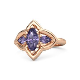 Marquise Iolite 14K Rose Gold Ring with Iolite