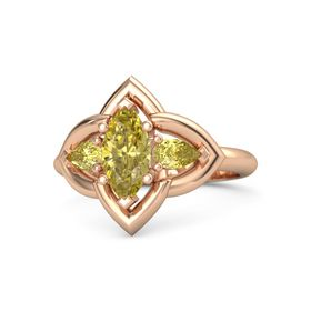 Marquise Yellow Sapphire 14K Rose Gold Ring with Yellow Sapphire