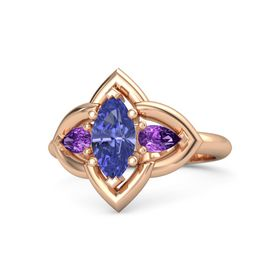 Marquise Tanzanite 14K Rose Gold Ring with Amethyst