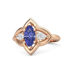 Marquise Tanzanite 14K Rose Gold Ring with White Sapphire