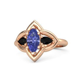 Marquise Tanzanite 14K Rose Gold Ring with Black Onyx