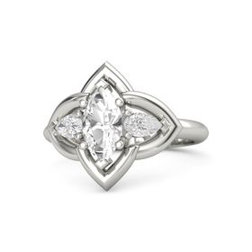 Marquise Rock Crystal 14K White Gold Ring with White Sapphire