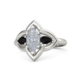 Marquise Diamond 14K White Gold Ring with Black Onyx
