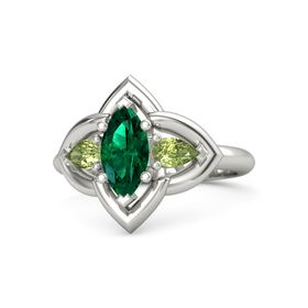 Marquise Emerald 14K White Gold Ring with Peridot