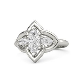 Marquise White Sapphire 14K White Gold Ring with White Sapphire