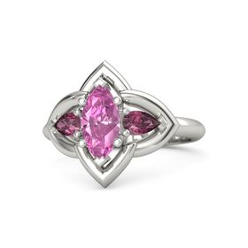 Marquise Pink Sapphire 14K White Gold Ring with Rhodolite Garnet