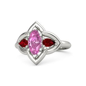 Marquise Pink Sapphire 14K White Gold Ring with Ruby