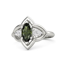 Marquise Green Tourmaline 14K White Gold Ring with White Sapphire