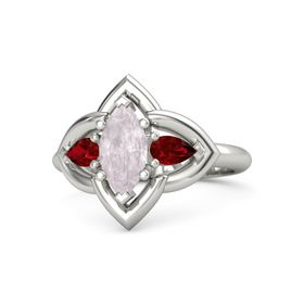 Marquise Rose Quartz 14K White Gold Ring with Ruby