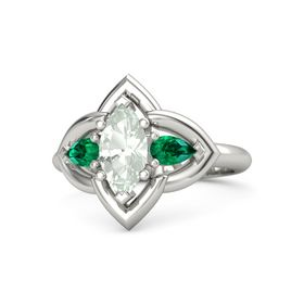 Marquise Green Amethyst 14K White Gold Ring with Emerald
