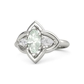Marquise Green Amethyst 14K White Gold Ring with White Sapphire