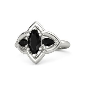 Marquise Black Onyx 14K White Gold Ring with Black Onyx