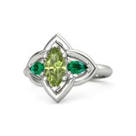 Marquise Peridot 14K White Gold Ring with Emerald