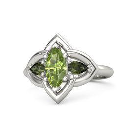 Marquise Peridot 14K White Gold Ring with Green Tourmaline