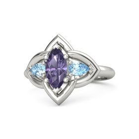 Marquise Iolite 14K White Gold Ring with Blue Topaz