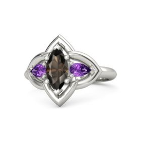 Marquise Smoky Quartz 14K White Gold Ring with Amethyst