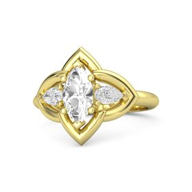 Marquise Rock Crystal 14K Yellow Gold Ring with White Sapphire