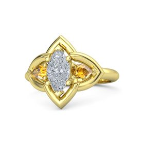 Marquise Diamond 14K Yellow Gold Ring with Citrine